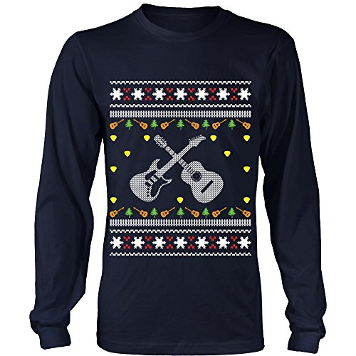 Price comparison product image Acoustic Electric Bass Guitar Gibson Yamaha Ugly Christmas Sweater Long Sleeve