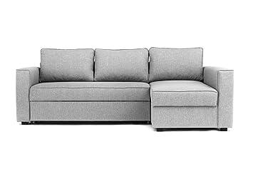 Abakus Direct Boston Corner Sofa Bed Storage In Grey Right Hand