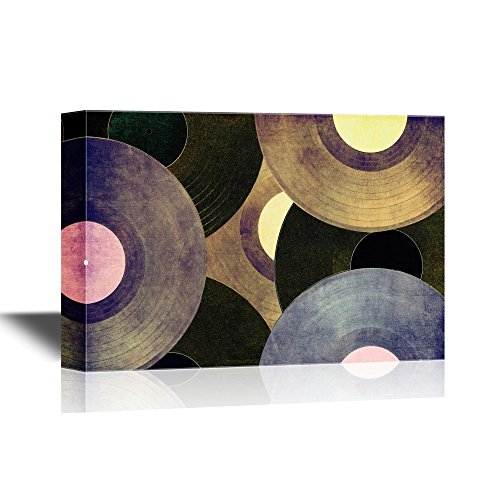 wall26 – Canvas Wall Art – Vinyl Records Discs – Giclee Print Gallery Wrap Modern Home Decor Ready to Hang – 32×48 inches