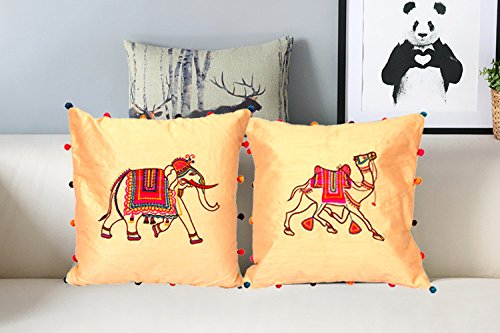 Amazon Handmade Cushion Cover Case Indian Elephant Embroidery Delectable Pillow Cover Hand Embroidery Designs
