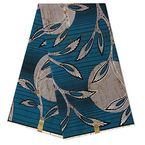pqdaysun African Super Wax Print Fabric Ankara Fabric Wax Material 6 Yards for Sewing Dress Clothing wax002-wine (Teal)