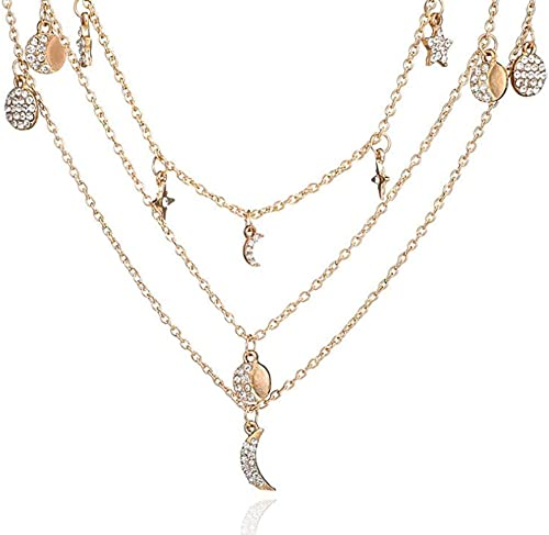 Multi-layer Women Fashion Star Moon Rhinestone Pendant Necklace  6A