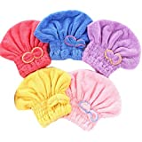 Wheelsp 5 Pack Bowknot Microfiber Hair Drying Towels,Fast Coral Velvet Drying Long Hair Turban Wrap,Absorbent Twist…