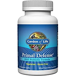 Garden of Life Whole Food Probiotic Supplement - Primal Defense HSO Probiotic Dietary Supplement for Digestive and Gut Health, 90 Vegetarian Caplets