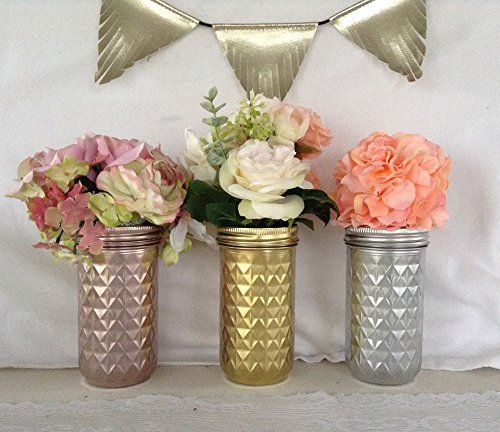 Amazon set of 3 jars gold rose gold andor silver mason jar set of 3 jars gold rose gold andor silver mason jar set junglespirit Gallery