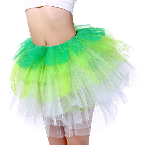 Anleolife 12 inch Running Tutu Skirt Kids Adults Girl Glitter Ballet Tutus 5 Layered (green Fluorescence White) (Tinkerbell Costume Cheap)