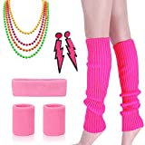 80s Outfit - Womens 80s Fancy Outfit Costumes Accessories Set,Leg Warmers Fishnet Gloves Neon Earrings, Bracelet and Beads