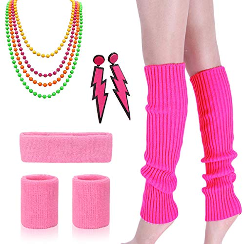 80s Outfit - Womens 80s Fancy Outfit Costumes Accessories Set Leg Warmers Fishnet Gloves Neon Earrings Bracelet and Beads -