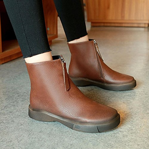 Neartime Promotion❤️Women Boots, 2018 Fashion Student Flat Martin Boots Solid Color Zipper Thick Short Leather Shoes by Neartime Sandals (Image #1)