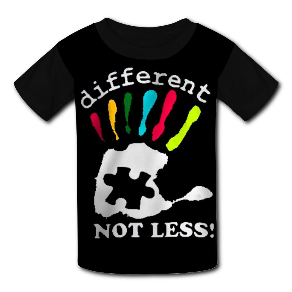 XInhaoLEI Kids Tshirt Hot Tops 3D Autism Awareness Dark Different Not Less Short T Sleeve Shirt Cool Graphics Tees