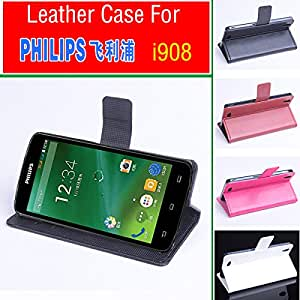 free shipping For PHILIPS i908 case cover wallet, Good Quality Leather Case+ hard Back cover For PHILIPS i 908 cellphone --- Color:White