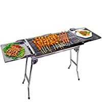 Outdoor4less Stainless Steel Portable Folding Tall Barbecue BBQ Charcoal Grill