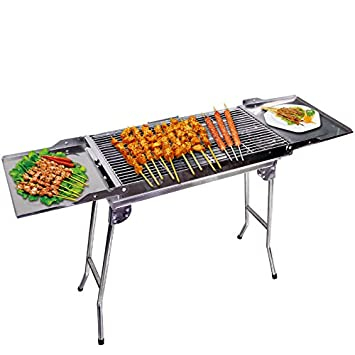 Outdoor4less Stainless Steel Portable Folding Tall Barbecue BBQ Charcoal Grill with Lges – Silver Chrome, Lightweight, Foldable – For Camping, Picnic, Outdoor – 44 x 12 x 28