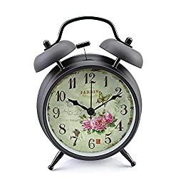 Konigswerk 4 Non-ticking Quartz Analog Retro Vintage Bedside Twin Bell Alarm Clock With Loud Alarm and Nightlight (Black Case - Roses)