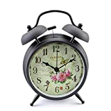 Konigswerk 4'' Non-ticking Quartz Analog Retro Vintage Bedside Twin Bell Alarm Clock With Loud Alarm and Nightlight (Black Case - Roses)