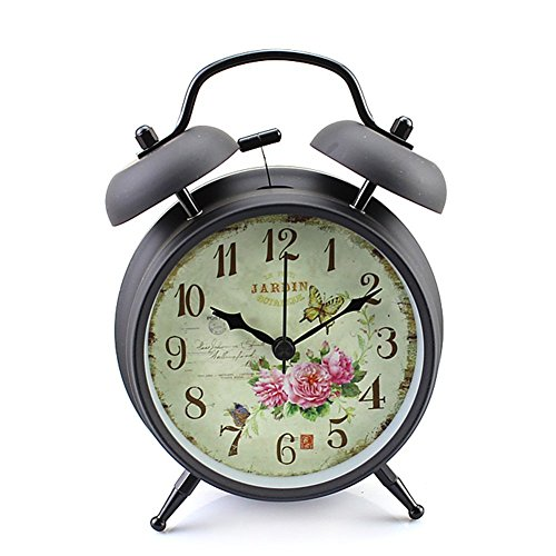 Konigswerk 4″ Non-ticking Quartz Analog Retro Vintage Bedside Twin Bell Alarm Clock With Loud Alarm and Nightlight (Black Case – Roses)