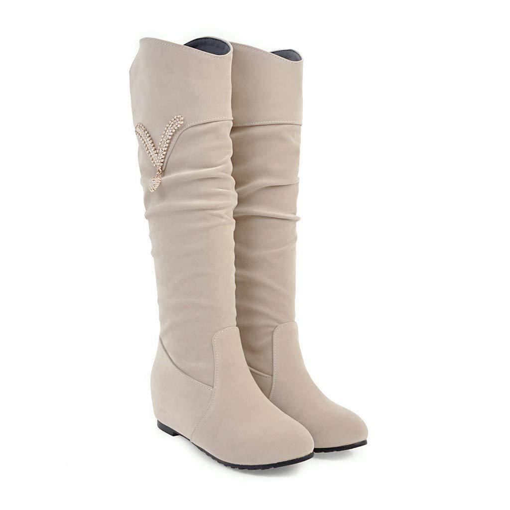 Frauen Frauen Frauen Flache Ferse Interne Erhöhung Lange Stiefel c7985c