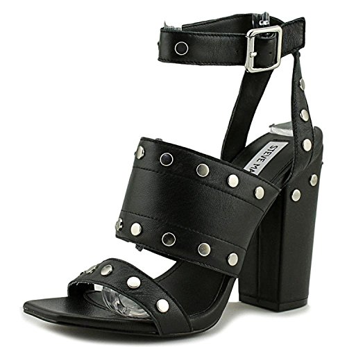 Jansen Leather Black Steve Madden Black Strap Sandals Ankle Dress TSqf5