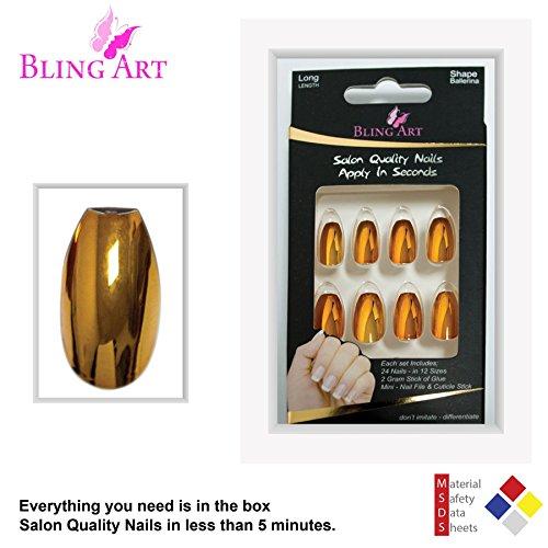 Long False Acrylic by Bling Art Metallic Gold Fake Ballerina Coffin Tips Nails 8xz8rROqw4