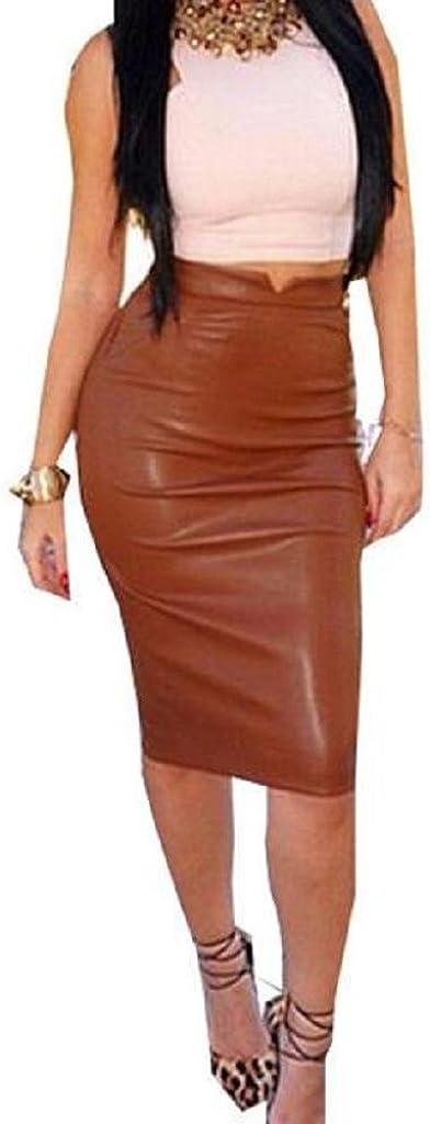 Holacha Mini Falda Media Apretada de Cuero Moda para Mujeres