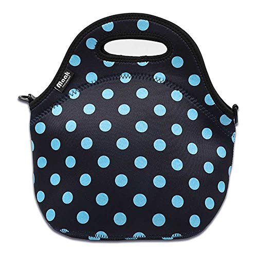 Cute stylish insulated Neoprene Lunch Bags thermal Tote container bento lunchbox for boys, girls,men School work Office Blue dot