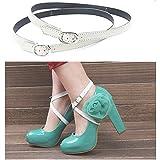 Camix Women's Detachable PU Leather Shoe Straps,High Heels Anti-loose Shoelace Accessories (white)