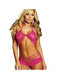 Sexy Lingerie Sexy Lingerie Sexy Perspective Hollow Lace Onesies Europe and American Sexy Lingerie (Color : Rose, Size : One Size)