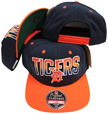 American Needle Detroit Tigers Navy/Orange Two Tone Plastic Snapback Adjustable Plastic Snap Back Hat/Cap