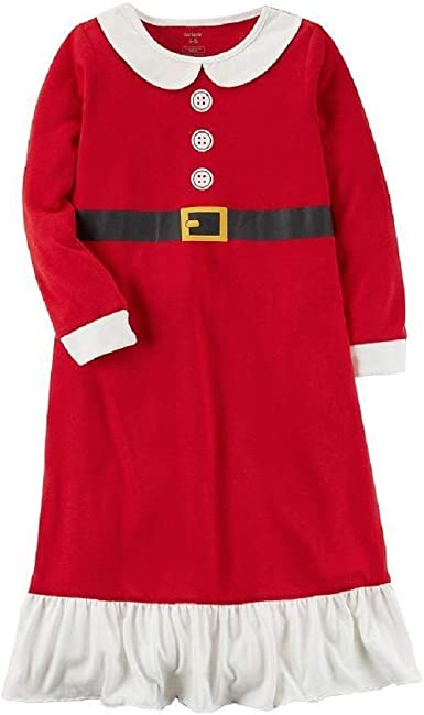 Carters Girls Red Mrs Santa Claus Nightgown Christmas Holiday Nightie