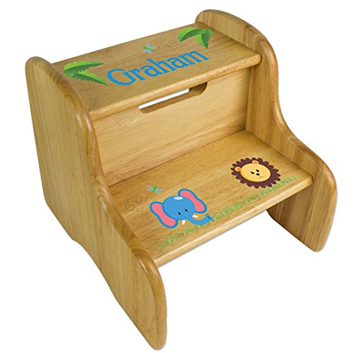 - Personalized Wooden Jungle Animal Girl Step Stool