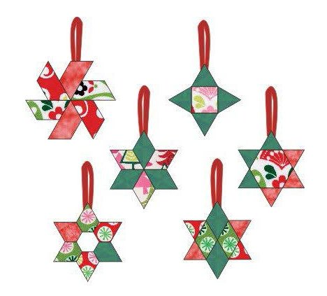 Star Ornaments - 6 Different Pattern Pieces to make 12 Ornaments of Fun to Hand Sew Holiday Ornaments ? Approximately 3? to 4? - (Pattern Star Ornament)
