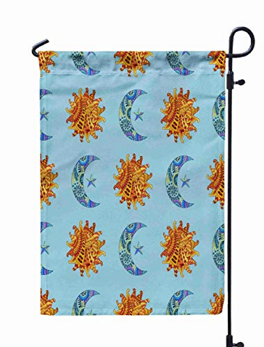 Shorping Welcome Garden Flag, 12x18Inch Pattern Sun New Moon Star in Style Colorful Ethnic Background Variant for Holiday and Seasonal Double-Sided Printing Yards Flags -