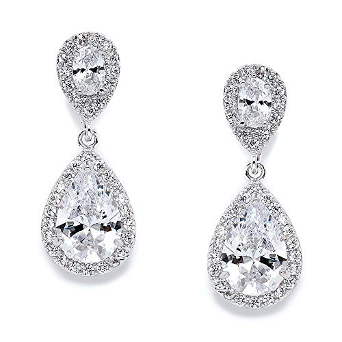 Swarovski Teardrop Bracelet - Mariell Cubic Zirconia Teardrop Wedding Earrings for Brides - Genuine Platinum Plated Bridal Jewelry