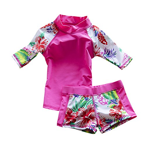 Toddler Boy Girl Swimsuit Kids Two Piece Round-Neck Swimwear Rash Guard Bathing Suit UPF 50+ (Girls 1 Swimsuit Toddler Piece)