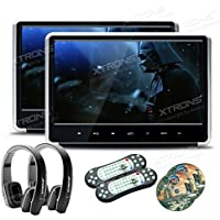 XTRONS 2x 11.6 Inch Pair Silver HD Digital Touch Panel Car Auto Headrest Active DVD Player Kid Games Built-in HDMI Port New Version Black Headphones Included