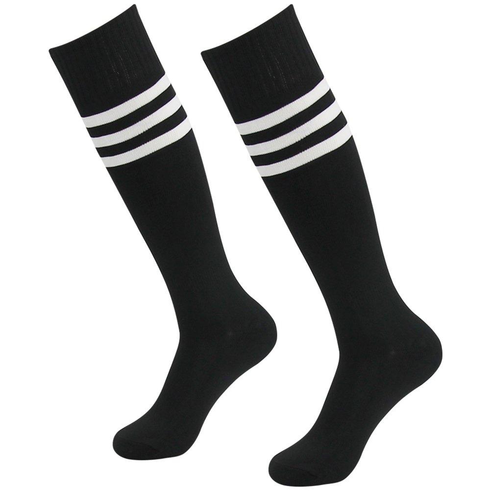 Women Soccer Socks Black, Comfortable Outdoor Socks, Mifidy Football Volleyball Socks Take Care The Foot White Triple Stripe Knee Length Socks Long Athletic Sport Tube Socks, 2 Pairs by Mifidy