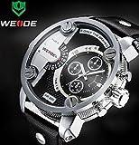 Weide Watches Men Military Quartz Sports Watch Luxury Brand Leather Strap Watch Wristwatch Oversize Wristwatches (Silver Black)