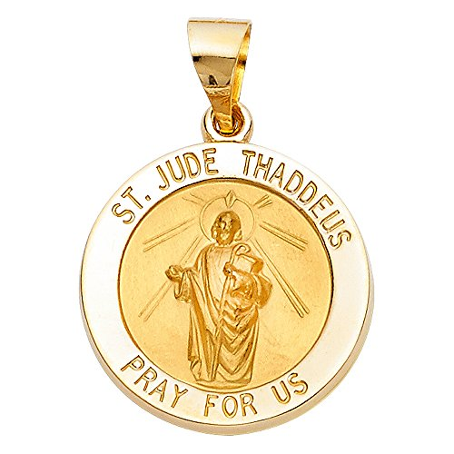 14k Yellow Gold Religious St. Jude Thaddeus Pendant by GoldenMine