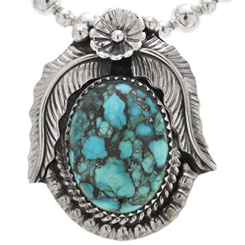 Spiderweb Turquoise Southwest Silver Pendant With Bead Necklace - Web Pendant Spider Turquoise