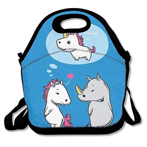 LHQ 's Rhinoceros Love Unicornio - Bolsa de almuerzo de neopreno para picnic con aislamiento, resistente al agua, con correa...