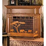 Fireplace WILD SAVANNAH FIREPLACE SCREEN Africa Elephant Elephants Safari Exotic African Iron Fire