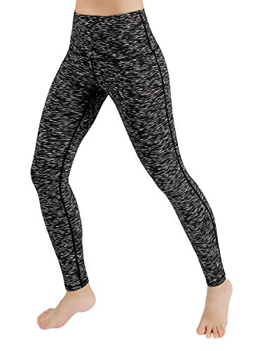 ODODOS Power Flex High-Waist Yoga Pants Tummy Control Workout Running Pant with Hidden Pocket,SpaceDyeMattBlack,XX-Large