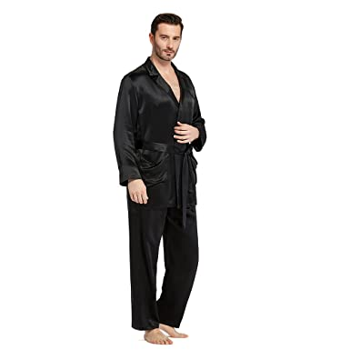 LilySilk Silk Pajamas Set for Men Summer 22 Momme Most Comfortable Sleepwear Black XS