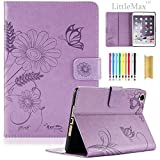 (US) Mini 2 3 Case-LittleMax Smart Embossed PU Leather Flower Cards Holder Case Stand Cover with Auto Wake / Sleep for Apple iPad Mini 3 / 2 / 1 [Free Stylus Pen]-#1-Light Purple Butterfly