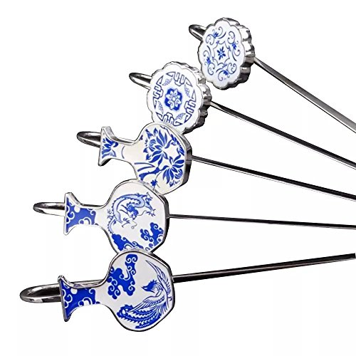 ANTIMAX Classic Style Chinese Blue and White Porcelain Metal Stainless Bookmarks Set of 5