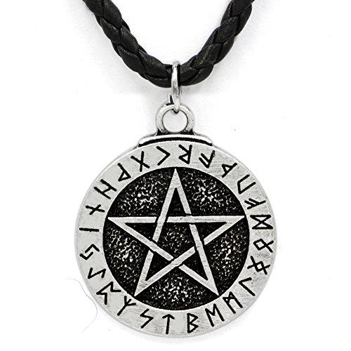 TTKP Handmade Norse Viking Large Rune Pentacle Pewter Pendant ~ Pentagram Of Protection