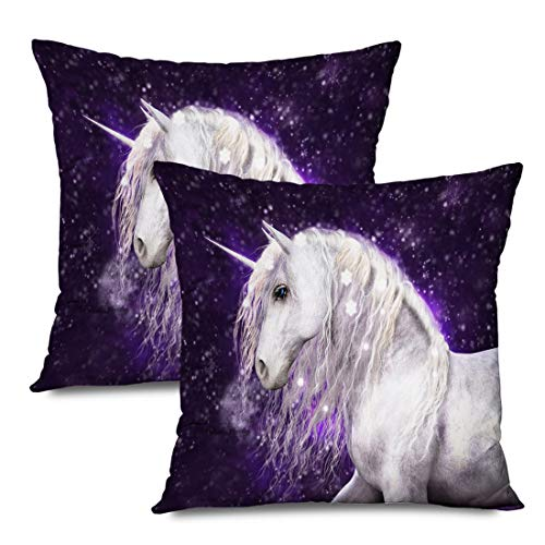 Ahawoso Set of 2 Throw Pillow Covers Square 16x16 Horse Realism Beautiful White Unicorn Silvery Hair Mane That Real Animals Wildlife Miscellaneous Zippered Pillowcases Home Decor Cushion Cases