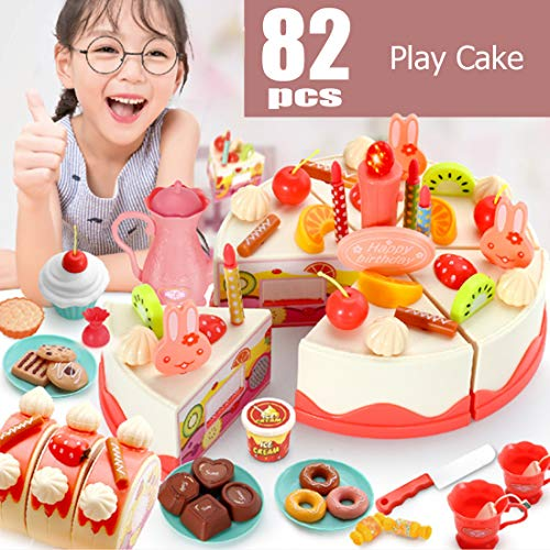 Birthday Cake Toy, Pretend Cake Play Set with Candles, Dishes, Donut Toys, Play Food for Princess Birthday Party, Gift for 3 4 5 6 7 Year Old Girls,Toddlers, Kids, Early Education DIY 82 Pcs Girl Toys