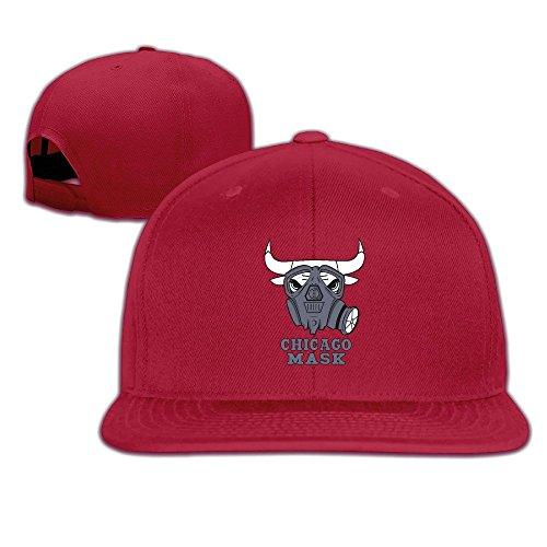 Custom Unisex Chicago Mask Basketball Team Flat Billed Summer Hats Red (Colt Mascot Costume)