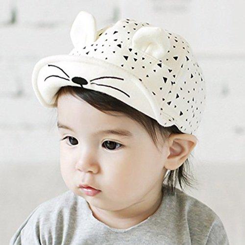 Zetti Baseball Hat for Boy Girl Kid Toddler Infant Cap Sun Cartoon - White